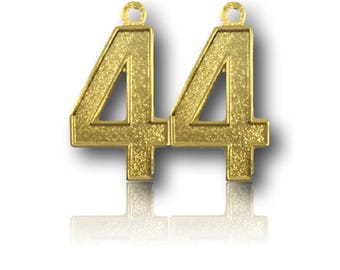 """Number 44 Jersey Style Sports Necklace Charm Pendant (0.8"""" Tall)  GOLD PLATED Football Baseball Basketball Soccer Lacrosse Hockey"""