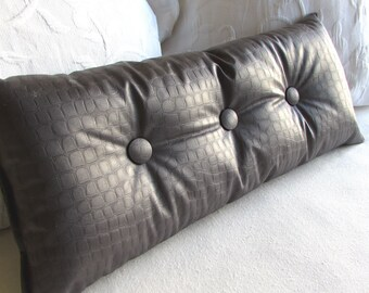 CROCODILE(not really) fabric nickel gray  lumbar Bolster Pillow 9x25