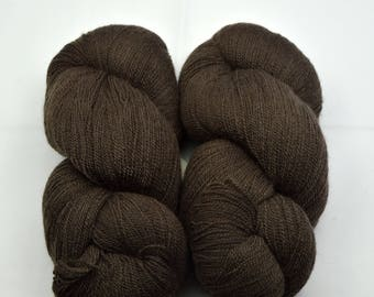 Hand dyed MERINO SILK LACE with natural colours, 100g-800 m, brown