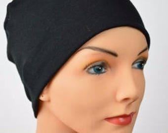 Chemo Cap, Cancer Beanie, Sleep, Casual, Black, All Season Lightweight, Organic Bamboo