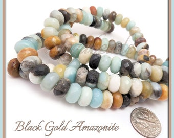 30 Faceted Black Gold Amazonite Beads, 10mm Rondelle Amazonite Beads, Faceted Amazonite Gemstone Beads, Black Gold Amazonite, SBGB6