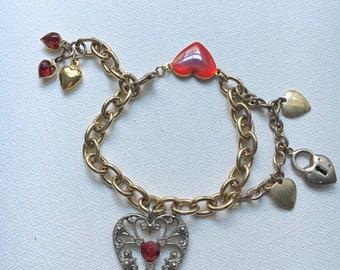 Charm Bracelet, Love Bracelet, Heart Charm Bracelet, Valentines Day Gift For Her, Girly Charms