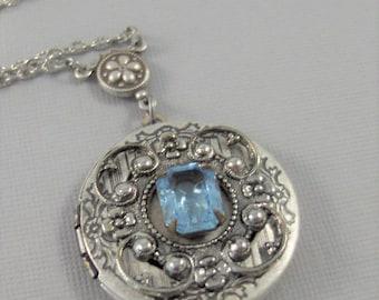 Misty Blue,Locket,Blue Locket,Aquamarine Jewelry,Aquamarine Locket,Locket,Silver Locket,Blue Locket,March Birthstone valleygirldesigns.