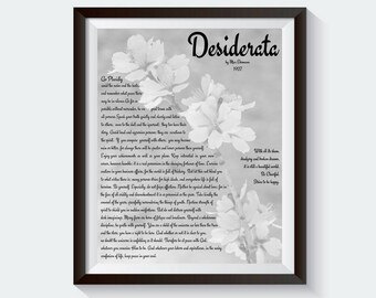 Black-and-White. Poem Print. Minimalist art. Desiderata wall art. Desiderata art print. Max Ehrmann poem. Desiderata print. Desiderata poem.