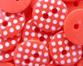 Red and White Polka Dot Buttons
