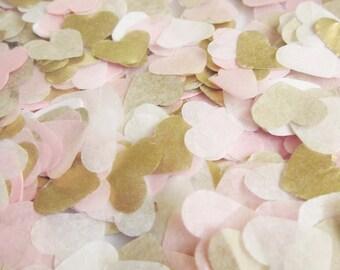 Biodegradabili a mano luce rosa + bianco + oro tessuto carta cuore coriandoli matrimonio - 25-250 manciate-