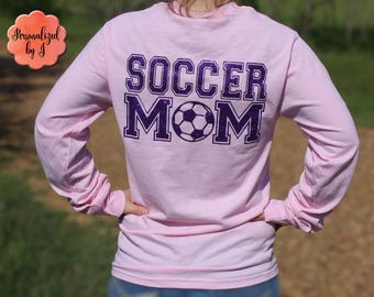 Soccer Mom Shirt, Long Sleeve Tee, Monogrammed Tee Shirt