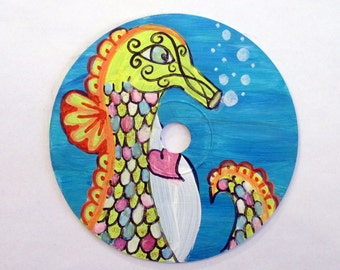 Glitter Seahorse painting - art on recycled CD, ocean animal, nautical wall art, beach room decor, children's nursery,