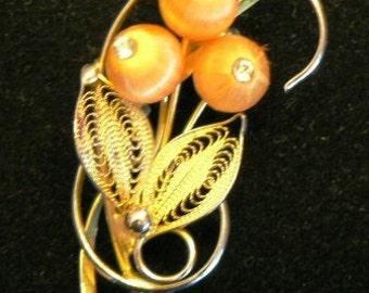 vintage jewels ...  FLORAL silk balls swirled LEAF Brooch PIN ...