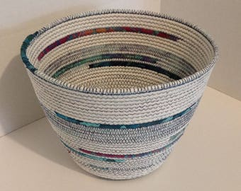 Fabric Pottery Coiled Fabric Bowl Basket, Rope Basket Bowl