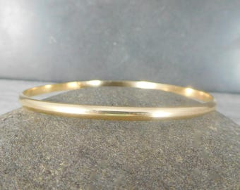 3mm Wide Gold Filled Bangle Bracelet, 14K Yellow Gold Filled, Half Round Domed Bracelet, Simple Classic Everyday Jewelry, Stacking