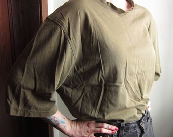 XL Oversize Cropped T-shirt / Army Olive Green Drab, Thrashed Distressed Destroyed, Batwing Boatneck