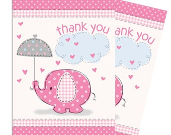 Umbrellaphants Pink Party Thank You Cards - Baby Shower Thank You Cards - Baby Girl Thank You Cards - Thank You Notes - Pink Elephant Thanks