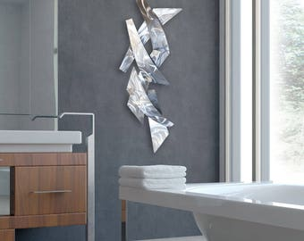 "Metal Modern Abstract Vertical Wall Sculpture Silver ""Wall Tempest"" by Dustin Miller"