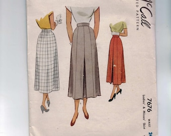 1940s Vintage Sewing Pattern McCall McCalls 7676 Misses Long Skirt with Back Pleat Waist 24 Hip 33 40s 1949