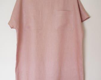 Women's shift dress in dusty rose linen, size M