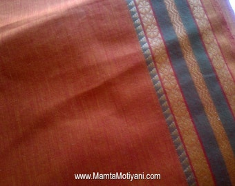 Rust Brown Saree Fabric By The Yard, Hand Woven Cotton, Curtain Material, Handloom Fabric, Indian Cotton Saree Fabric With Metallic Border