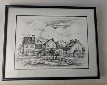 Framed Inked b&w Drawing of a Residential Neighborhood