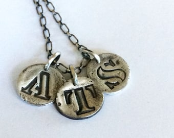 Personalized Monogram Fine Silver Tag Pendants Letters Numbers Ampersand