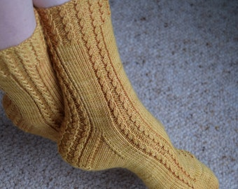 Twisted Cable Knit Socks Pattern - TORQUENT SOCKS Knitting Pattern PDF - Instant Download