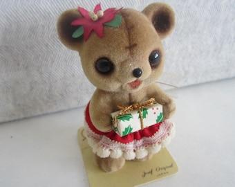 Josef Original Flocked Bear Figurine Christmas flocked Bear