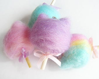 Kawaii Cotton Kitty,Pastel Kitty Spun Sugar, Carnival Cotton Candy,OOAK Candy Floss Necklace