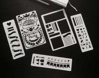 Set of 5 stencils, Bullet Journal Stencil, Planner Stencil, Bullet Journal, Bullet Journal template
