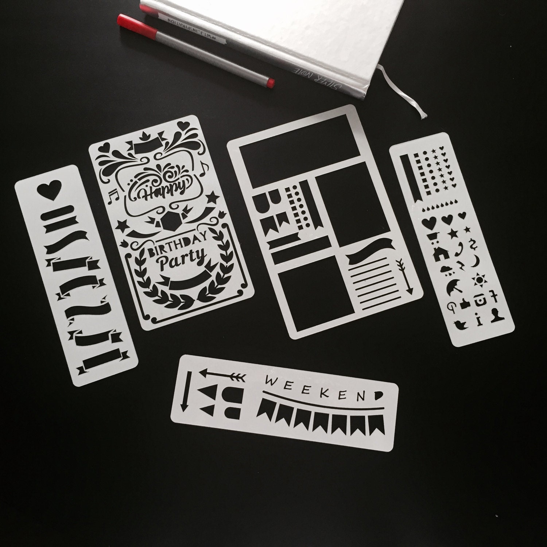 set of 5 stencils bullet journal stencil planner stencil