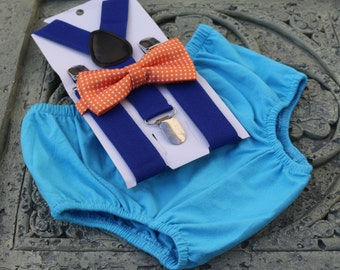 1st Birthday boy cake smash bloomers bow tie Suspenders Royal Blue orange Outfit, Outfit, boy outfit,bloomers,diaper cover