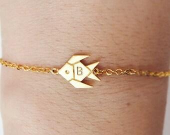 tropical fish anklet, Personalized anklet, fish anklet,initial anklet, Personalized Jewelry, friendship anklet, summer anklet