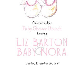 Pink Baby shower invitation printed invitation baby shower original watercolor art baby shoes baby girl invitation