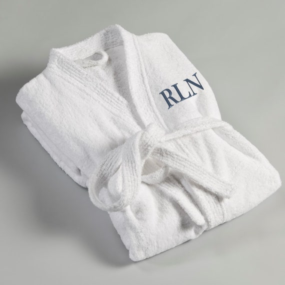 Personalized Robe for him - White Terry Cloth Embroidered Robe - Monogrammed Robe for Him - Gifts for Him - Groomsmen Gifts - Father's Day aqALT