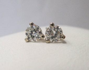 ONE pair of 14K White Gold Diamond Stud Earrings