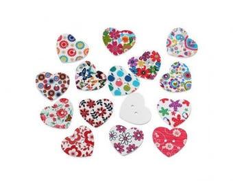 50 buttons 25mm heart shaped
