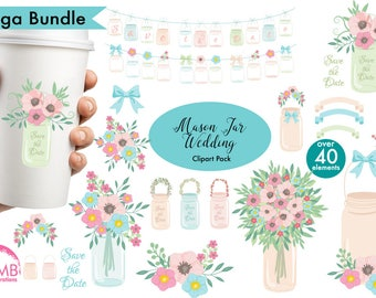 Shabby Chic wedding clipart, Mason jar clipart, Shabby chic floral, save the date clipart, commercial use, AMB-966