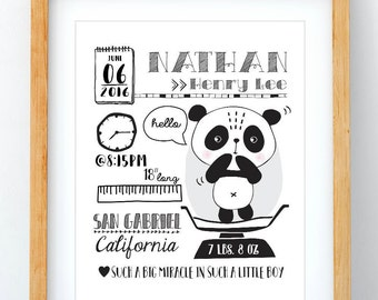 Baby Panda Wall Art, Baby Panda Print, Baby Name Gift, Birth Details, Nursery Decor, Printable, Modern Nursery, Baby Birth Status, 8x10