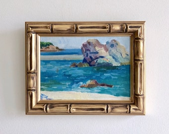 Ocean Blue Seascape Original Small Oil Painting Framed Bamboo