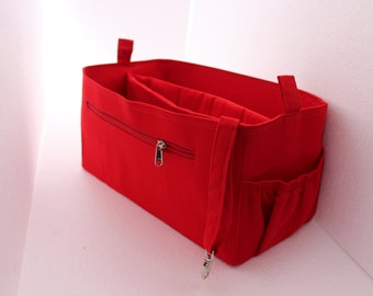 Extra Taller Purse organizer for Louis Vuitton Neverful GM with laptop case in Red fabric