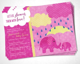 Momma and Baby Elephants Baby Shower Invitation - Pink - DIY Printable