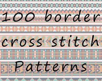 100 Borders Cross Stitch Pattern PDF Download Folk Edge Collection Easy Chart Aztec Embroidery Modern Gift Tribal Embellishment Traditional