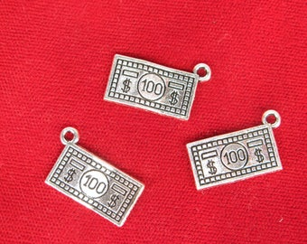 """10pc """"100 dollar bill"""" charms in antique silver style (BC1255)"""