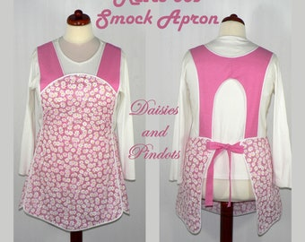 Retro 50s Smock Apron - Daisies and Pin-dots in Pink, hostess apron, all day apron, made-to-order XS to Plus Size, H-back (across shoulders)