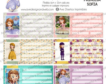 Sofia the first labels for notebooks, Sofia the first labels for books, Sofia the first school labels