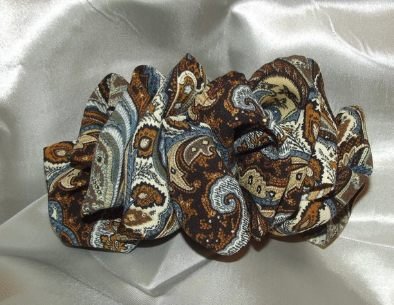 Becky Bows ~  Barrette scarf Hand crafted oversized  BIG hair bow Women or Girls burgundy brown gray paisley