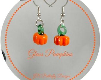Pumpkin Earrings, Glass Pumpkins, Lamp Work Pumpkins, Lamp Work, Glass, Beaded, Pumpkins, Earrings