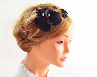 Black fascinator headband Halloween fascinator Wedding headpiece Ivory headpiece Bridal fascinator Flower hair band  Flower hair comb
