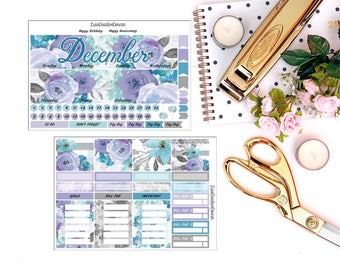 Winter Wisper Monthly View for your Erin Condren Life Planner/Happy Planner