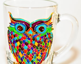 Cup for Tea Owl Mug Hand Painted Colorful Glass Mug