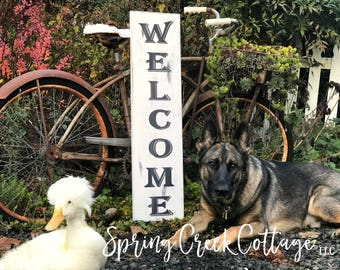 Welcome Signs, Porch Decor, Rustic Wood Signs, Porch Signs, Farmhouse, Welcome Sign, Vertical Welcome Sign