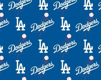 Los Angeles Dodgers Cotton Fabric 1 Yard Sports Team 100% Cotton
